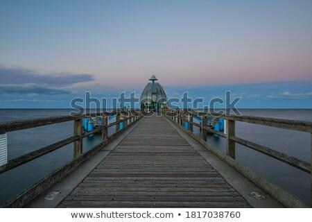 walkway bridge along the coast at night stock photo © kawing921