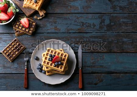 bosbessen · rustiek · houten · witte · mok · groene - stockfoto © anskuw