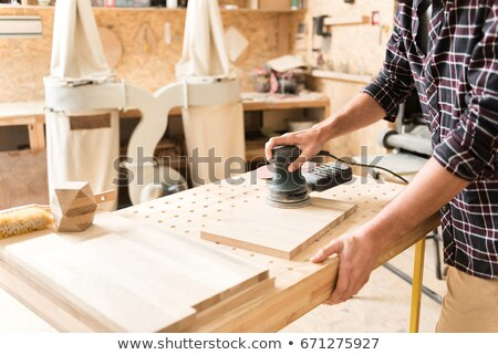 Dől deszkák ház férfi építkezés kék Stock fotó © photography33