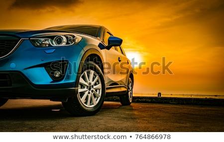 Stok fotoğraf: Gün · batımı · araba · siyah · geri · gökyüzü