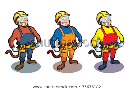 energetic construction worker in yellow helmet stock photo © stockyimages