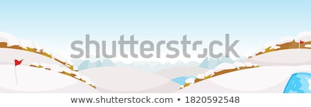 Сток-фото: Golf Course Green With Winter Snow And Blue Flag