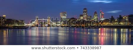 ночь Лондон моста реке Cityscape скамейке Сток-фото © arturasker