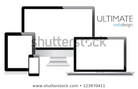 set of modern digital tablet pc isolated on white stock photo © fotoscool
