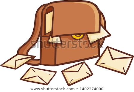 Vector icon postman bag and letters stock photo © zzve