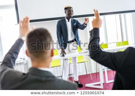 Stockfoto: Jonge · zakenman · helpende · hand · witte · handdruk · pak