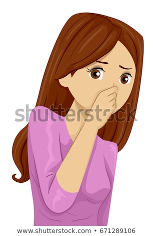 slechte · geur · vrouw · wasknijper · neus · gezicht - stockfoto © dacasdo