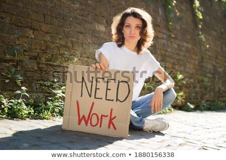 若い女性 · ボード · はい · 幸せ · 肖像 · 女性 - ストックフォト © dacasdo