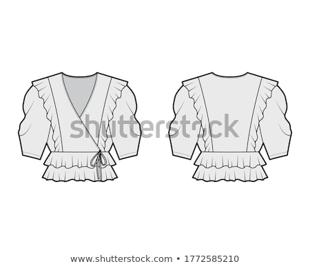 Dames blouse broderie isolé blanche design Photo stock © RuslanOmega
