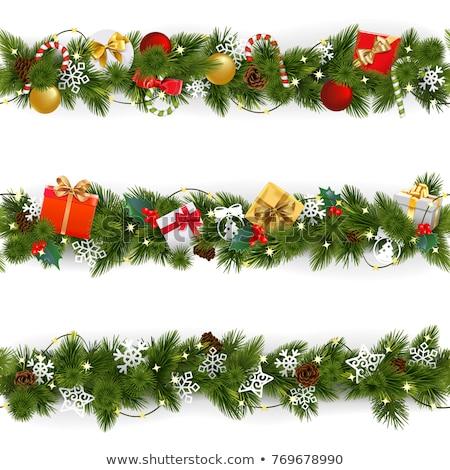 Rood gouden lint christmas decoratie knoop Stockfoto © stocker