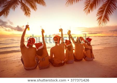 женщину пить пляж Рождества отпуск девушки Сток-фото © bigjohn36