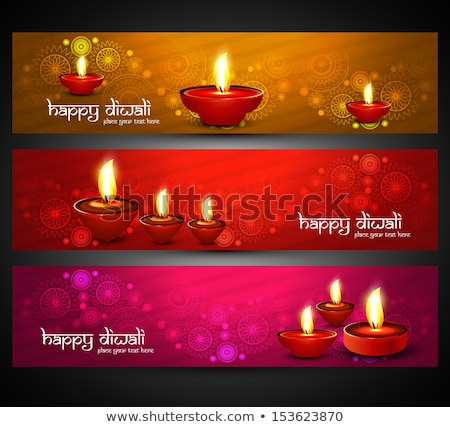 Beautiful religious bright colorful happy diwali headers set vec Stock photo © bharat