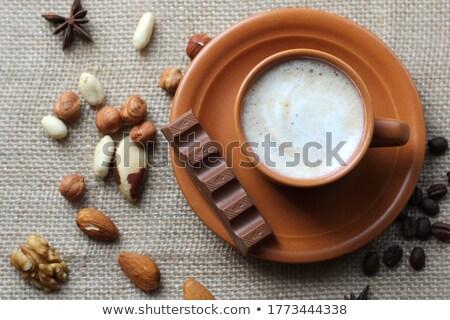 édesség fahéj diók kávé csészealj zsákvászon Stock fotó © oly5