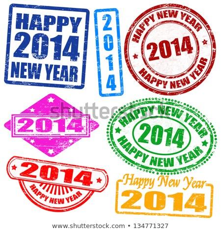 Новый год 2014 штампа набор вектора знак Сток-фото © burakowski