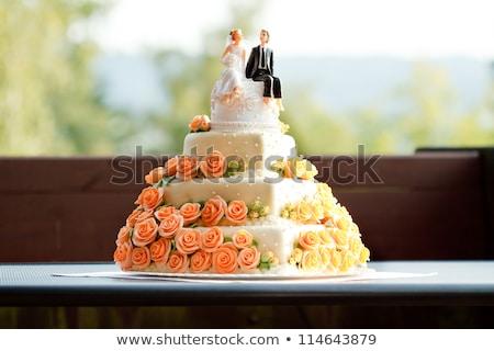 Stok fotoğraf: Düğün · pastası · heykelcik · seramik · gelin · damat