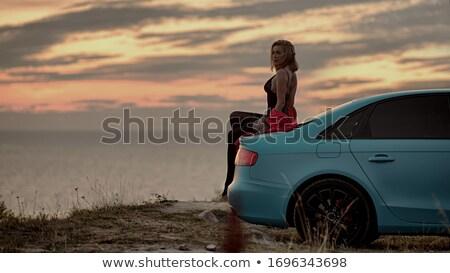Kecses szőke nő ül autó retro Stock fotó © konradbak