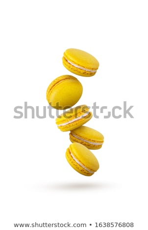 желтый macaron Cookies изолированный белый цвета Сток-фото © karandaev
