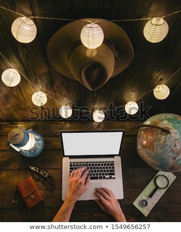 Mani lavoro laptop Alaska schermo Foto d'archivio © michaklootwijk