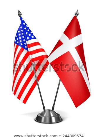 USA Denemarken miniatuur vlaggen geïsoleerd witte Stockfoto © tashatuvango