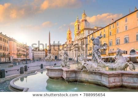 rome piazza navona fountain from bernini in italy stock photo © dserra1