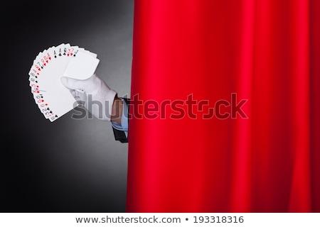 Mágico cartões atrás etapa cortina Foto stock © AndreyPopov