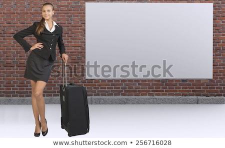 munka · utazás · fehér · téglafal · firka · ikonok - stock fotó © cherezoff