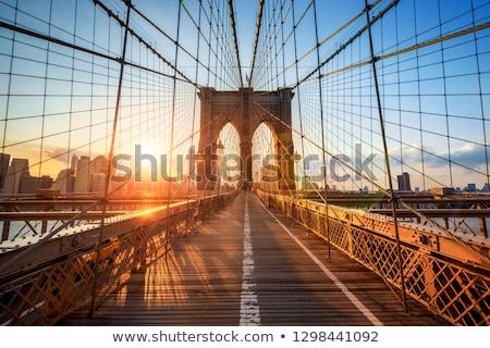 Stock photo: New York Brooklyn Bridge and Downtown