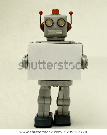 Happy robot holding a blank sign Stock photo © creisinger