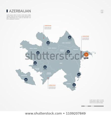bandera · Azerbaiyán · signo · viaje · país · botón - foto stock © mayboro