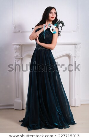 Stock fotó: Portré · gyönyörű · titokzatos · nő · karnevál · maszk
