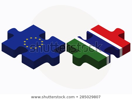 European Union and Gambia Flags in puzzle isolated on white back Stock photo © Istanbul2009