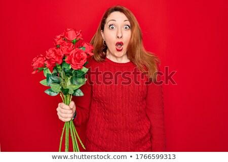 Bouquet rouge jaune fleurs blanches floue Photo stock © vtls