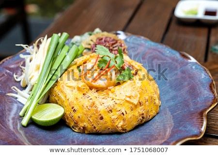 Grillezett tigris garnéla fűszeres mártás étel Stock fotó © vichie81