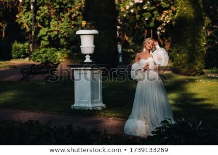 невеста · белый · подвенечное · платье · романтические · модель · изолированный - Сток-фото © bezikus