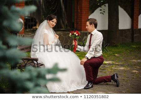 glimlachend · bruid · steeg · boeket · prachtig · jonge - stockfoto © galyna_tymonko