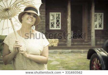 1920 · vrouw · antieke · huis · aantrekkelijk · vintage - stockfoto © feverpitch
