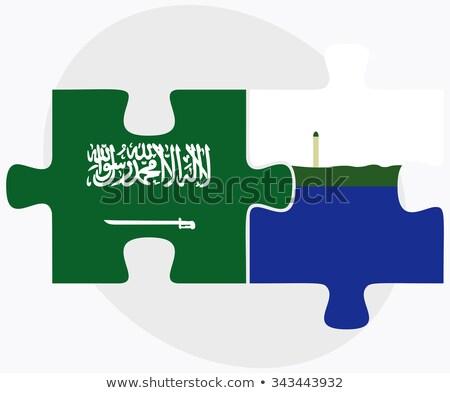 Szaúd-Arábia sziget zászlók puzzle izolált fehér Stock fotó © Istanbul2009