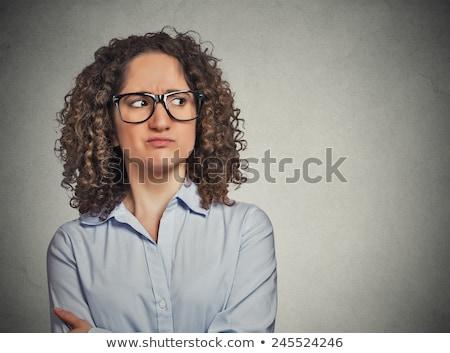 megszégyenített · nő · szemüveg · vektor · terv · illusztráció - stock fotó © rastudio