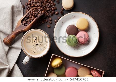 Quente copo café macaron bolinhos manhã Foto stock © stevanovicigor