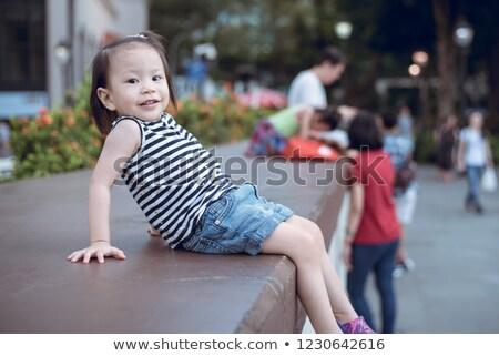 Gyerek mosolyog wc nő lány arc Stock fotó © zurijeta