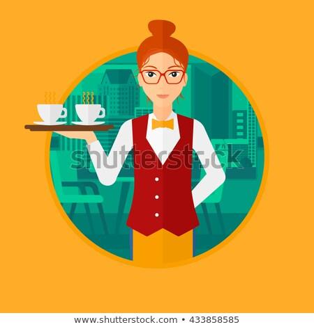 Pincérnő hordoz tea gyönyörű étterem kávé Stock fotó © deandrobot