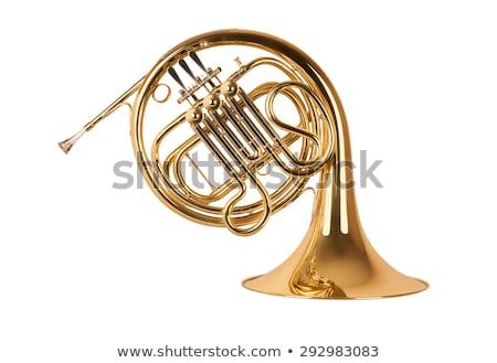 Laiton instruments de musique blanche trompette musique Photo stock © seen0001