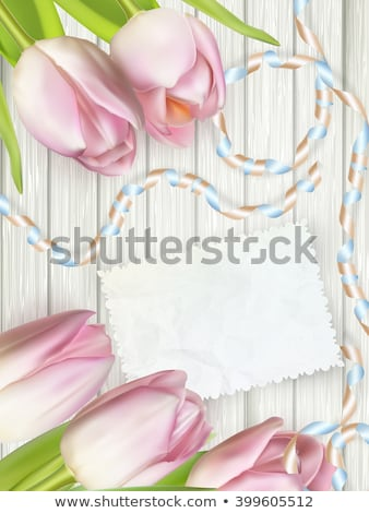 thank you card with bouquet of tulip eps 8 stock photo © beholdereye