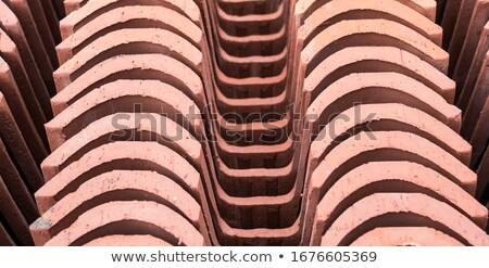 vermelho · telhado · argila · azulejos · perspectiva · casa - foto stock © timbrk