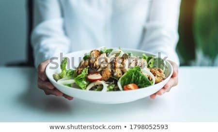Disfrutar placa palabra blanco alimentos amor Foto stock © fuzzbones0