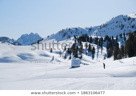 Mooie scène skiër silhouet zon sport Stockfoto © zurijeta