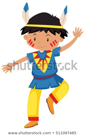 boy dressed up as red indian stock photo © bluering