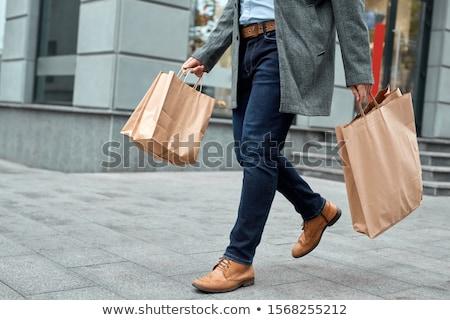 男 ショッピングバッグ 服 クローズアップ 小さな 白人 ストックフォト © nito