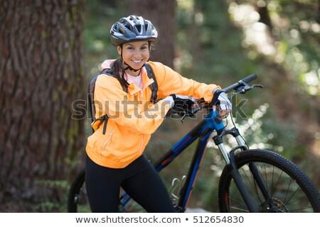 Stock fotó: Portré · női · motoros · hegyi · kerékpár · vidék · erdő