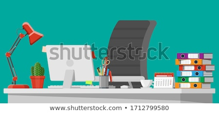 Office desk with lamp and ring binders Stock photo © stevanovicigor